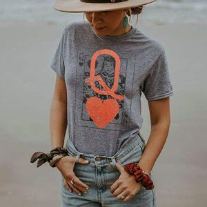 Q Of Hearts Queen Grey Graphic T-Shirt
